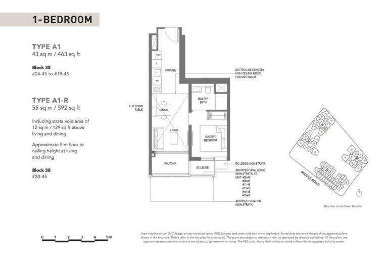 The-M-Floor-Plan-type-a1-1-bedroom-463-sqft