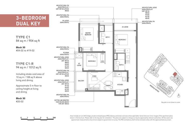 The-M-Floor-Plan-type-c1-3-bedroom-dualy-key-904-sqft